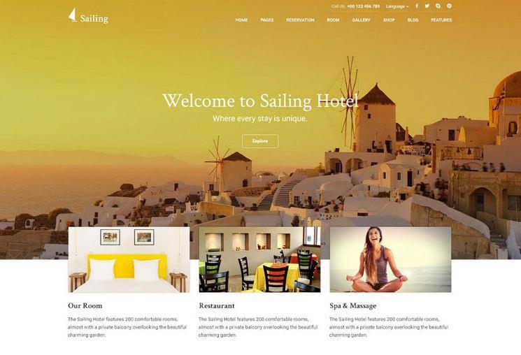 Mẫu website khách sạn 5 sao Sailing