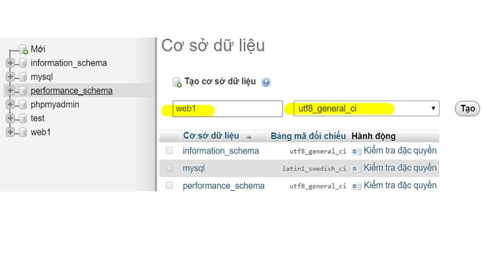 Tạo CSDL (cơ sở dữ liệu)cho website