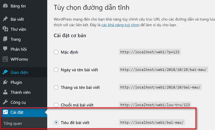 Cài đặt đường dẫn URL của website (nhằm mục đích thân thiện với google)