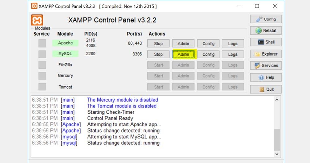 Mở phần mềm Xampp, bật ứng dụng MySql