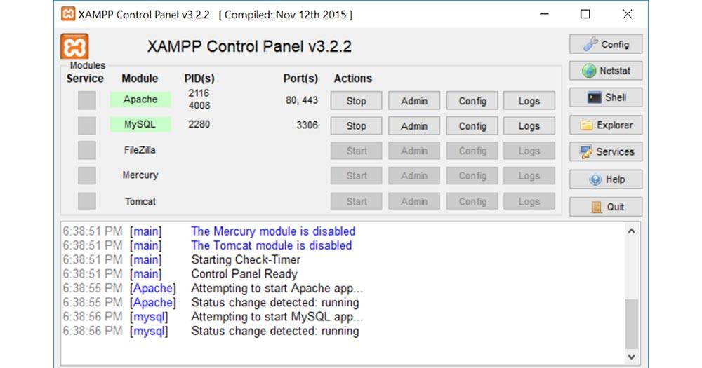 Bật ứng dụng Apache và MySql